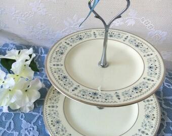 Wedding Stand 2 Tier Vintage Minton Beaumaris Plate Tidbit Dessert Jewelry Serving Tray