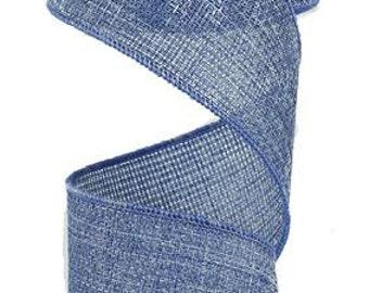 "2.5""X10yd Cross Royal Burlap Faded Blue Jean"