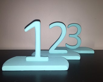 Solid wood teal table numbers (1 through 10)