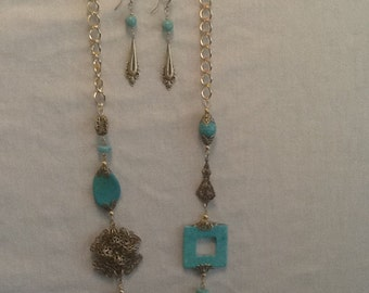 Antique  brass necklace and earrings