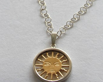 Tarot 14k Solid Gold Sun - Sterling Silver Pendant by Cardfortune