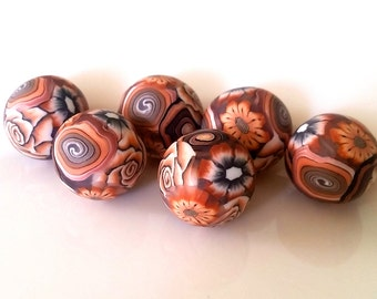 6 pieces brown polymer clay beads,, Coffee,, brown beads floral polymer clay beads