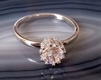 1 sweet engagement ring, ring 925 sterling silver 19 mm, Princess ring