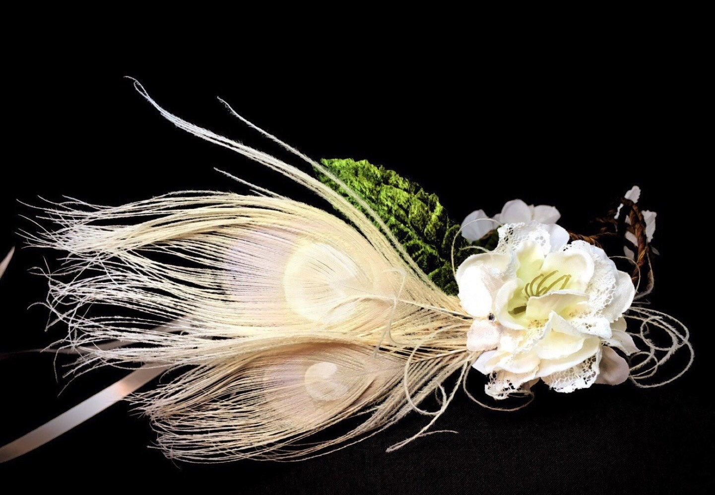 Ivory Flower Crown Ivory Wedding Headpiece Bridal Crown Feather