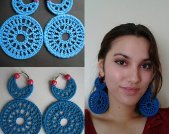 Bright Blue Color Blocking Crochet Earrings. Limited Edition