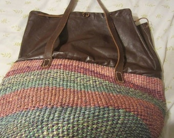 Vintage Raffia & Leather bag