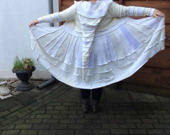 beautiful white Katwise inspired up-cycled sweater coat