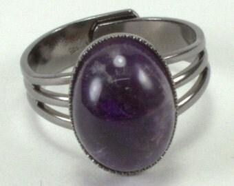 Amethsyt Cabochon Adjustable ring