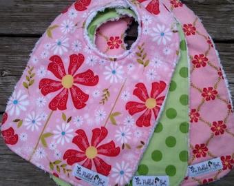 Baby Bibs Handmade - Baby Girl Bibs - Baby Bibs - Chenille Bibs - Girl Bibs - Pink Baby Bibs - Riley Blake - Sweet Divinity - Baby Girl Gift