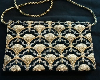 Art Deco Gold Black Velvet Clutch Bag