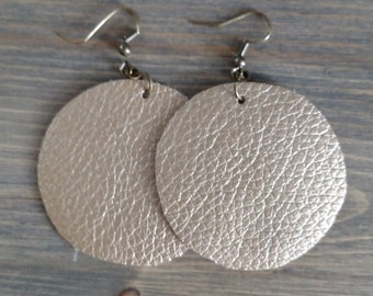 Gold Round Earrings - Circular Leather Drop Earrings - Faux Leather Jewelry - Textured Metallic Leather Dangle Earrings