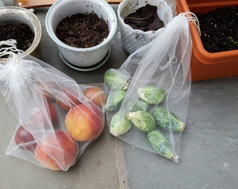 Pack of 5 Produce Bags, Reusable Drawstring Grocery Bags for Produce, Replaces plastic bags