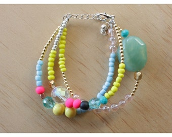 Multi Coloured Beaded Bracelet - 11