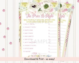 The Price Is Right Baby Shower Game | Boho Dream Catcher Tribal Pink Lemonade Ivory | Digital Instant Download