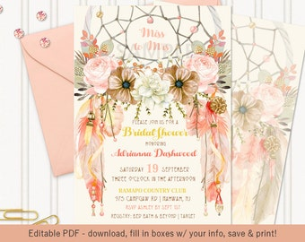 Tribal Boho Dream Catcher Invitation | Peaches N Cream Feathers Crystals Roses | Editable PDF Digital Instant Download