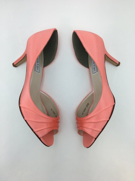 coral wedding shoes coral wedding shoes bridal shoes bridesmaids shoes peeptoe 3066
