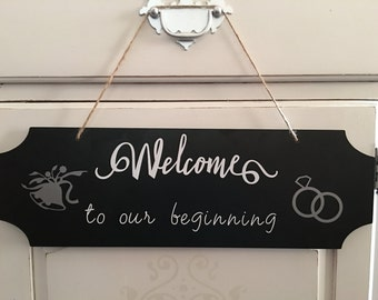 Wedding Welcome Sign- Welcome To Our Beginning - Hanging Chalkboard