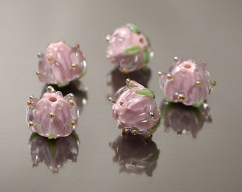 Lilac Handmade Flower lampwork glass beads Floral beads Artisan violet silver/gold dots tenderness wedding jewelry making spring green leaf