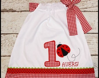 Sweet Little Lady Bug  Birthday Pillowcase style dress name and age included red gingham