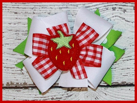 Sweet Gingham Strawberry Hair bow on alligater clip or head band