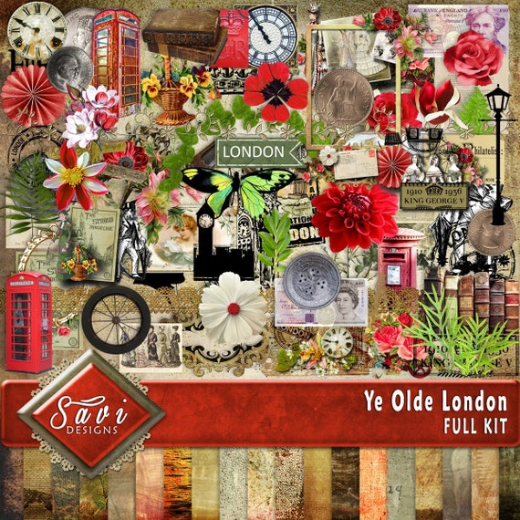 Digital Scrapbooking Kit YE OLDE LONDON travel, Vacation,family, europe, vintage, suitable for vintage and modern Scrap Pages