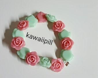 4 colours Cute Rose Bracelet / flowers kawaii harajuku Lolita cosplay girl pastel Goth