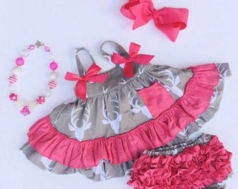 Hot pink/grey deer swing top set