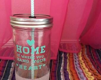 Mint green & white sparkle mason jar