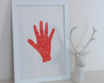 Limited screen prints - orange hand