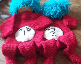 Crocheted Thing 1 and Thing 2 Set