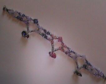 Swarvski Heart Bracelet with Sterling Silver Clasp