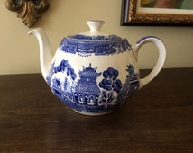 Alfred Meakin Old Willow Blue and White Teapot Transferware Staffordshire China Teapot