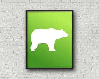 Bear, Colorful, Instant Download, Woodland, Nursery, Wall Art, Silhouette, Customization, Kids Room, Kid Prints, Home Decor, Animals, Prints