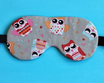 Sleep Mask Owl, travel eye mask, Dorm Decor, gifts for travelers,  School Supplies, gifts for her, Mother's Day gift, Owl lovers gift