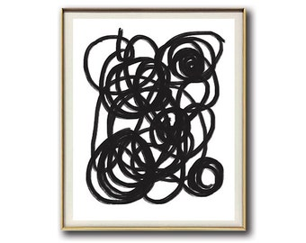 Abstract Minimalist Art Print  #13 | Black and White | Abstract Print