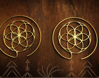 Brass, flower of life sacred geometry hoop earring