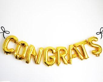 Congrats Balloons - Graduation Party Balloon Decor - Bridal Shower Balloon Decor - Engagement Party Decor - Wedding Photo Prop Balloons