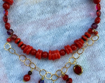 Coral and glass bead necklace, gold plated chain