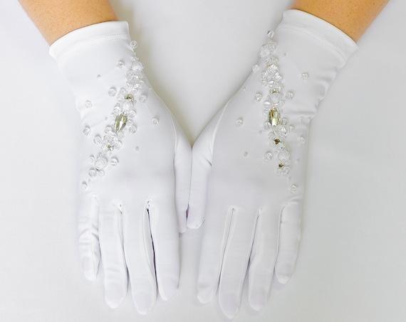 White Gloves, White wedding gloves, bridal gloves, finger gloves 19