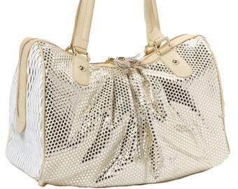 Gold leather metallic tote bag