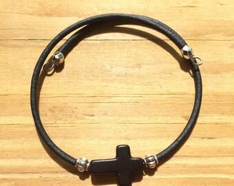 Easy to put on, memory wire black cross bracelet