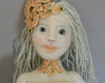 Art Doll, Pacifica: Mermaid of the Pacific Ocean, Needle felt Art Doll, Mermaid