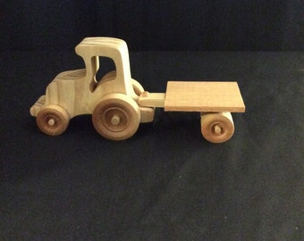 Tractor, tractor and flatbed, wooden tractor, wooden toys, handmade toys