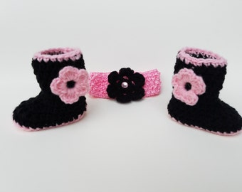 Black and Pink Crochet Bootie and Headband Set