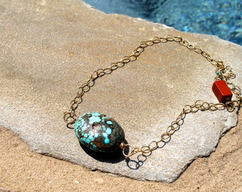 14k Gold Choker with Turquoise Pendant