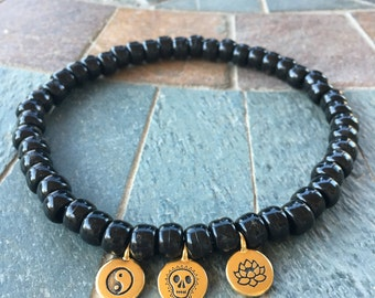 Black and Gold Bead Charm Choker Festival Necklace