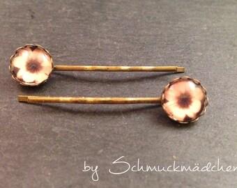 Hair clips bronze Flower Pink