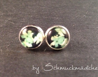 Earrings silver floral turquoise