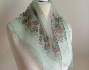 Vintage 1950s Unique Italian Silk Chiffon Scarf Aqua Floral Gossamer Fine Unused Rare Pristine 50s Chic