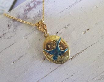 Bluebird Necklace ~ Bluebird Pendant ~ Small Gold Locket ~ Vintage Locket ~ Bird Jewelry ~ by WakesTheDawn